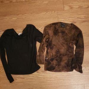 Black and Brown Long Sleeve Sheer Tops